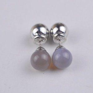 Henri Bendel Natural Grey Agate Earrings